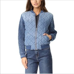 🧡Anthro Quilted Bomber Jacket with knit sleeves